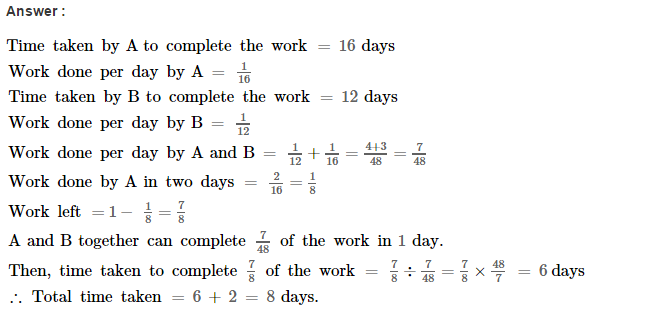 Time and Work RS Aggarwal Class 8 Maths Solutions Ex 13A 9.1