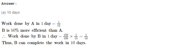 Time and Work RS Aggarwal Class 8 Maths Solutions Ex 13B 11.1