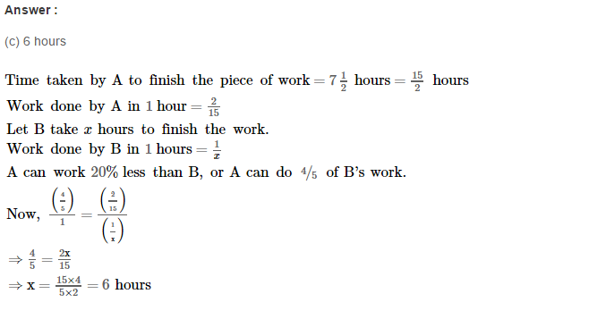 Time and Work RS Aggarwal Class 8 Maths Solutions Ex 13B 12.1
