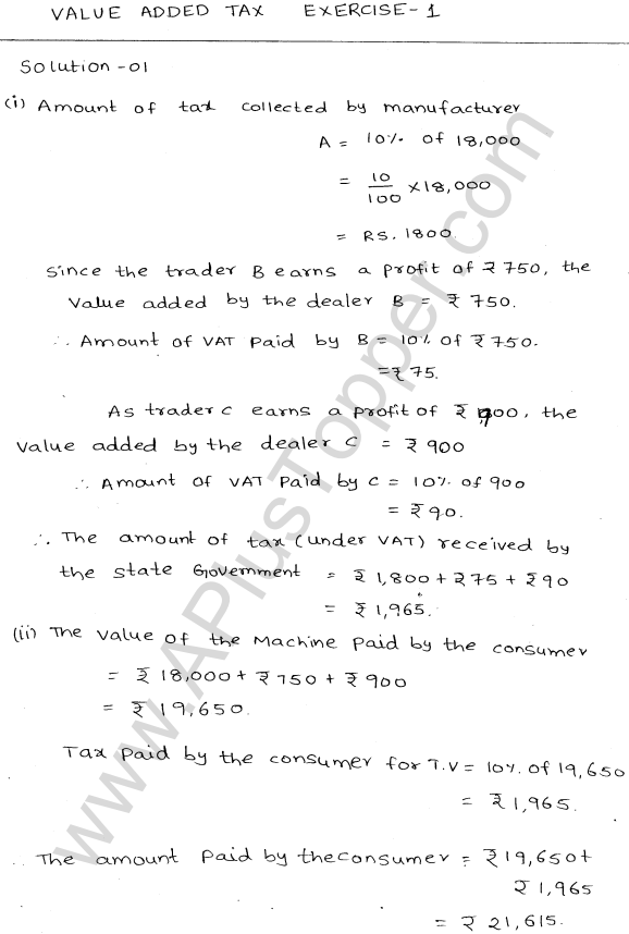 ML-Aggarwal ICSE Solutions for Class 10 Maths Ch 25 Value Added TaxQ1.1