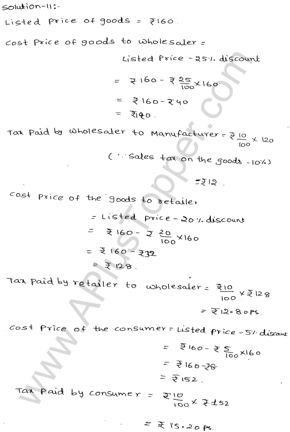 ML-Aggarwal ICSE Solutions for Class 10 Maths Ch 25 Value Added TaxQ1.11