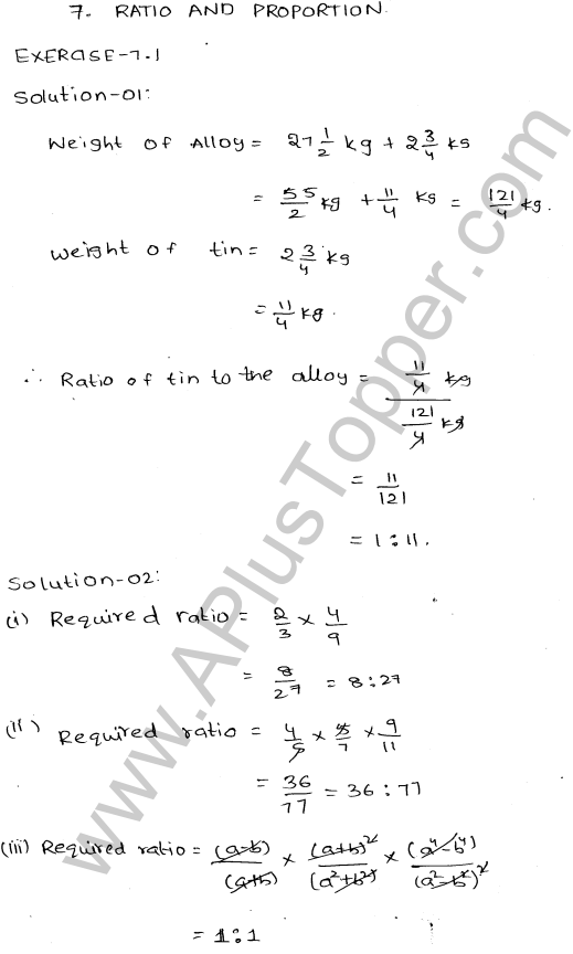 ML-Aggarwal ICSE Solutions for Class 10 Maths Ch 8 Ratios and Proportions Q1.1
