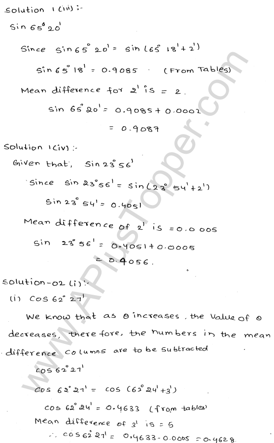 ML Aggarwal ICSE Solutions for Class 10 Maths Chapter 20 Trigonometric Tables Q1.2