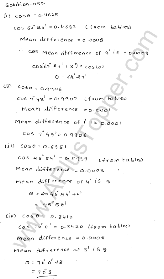 ML Aggarwal ICSE Solutions for Class 10 Maths Chapter 20 Trigonometric Tables Q1.6