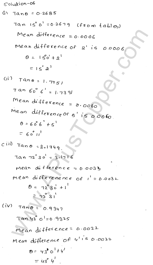 ML Aggarwal ICSE Solutions for Class 10 Maths Chapter 20 Trigonometric Tables Q1.7