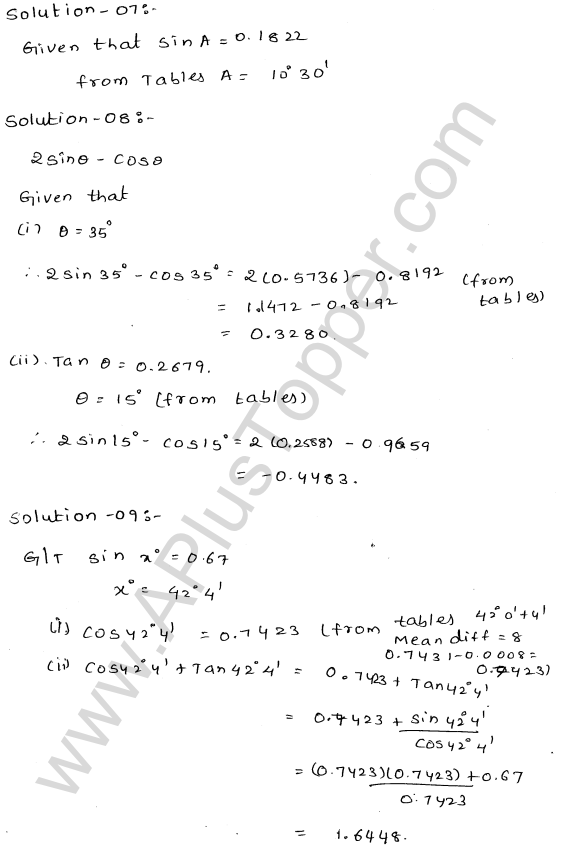 ML Aggarwal ICSE Solutions for Class 10 Maths Chapter 20 Trigonometric Tables Q1.8