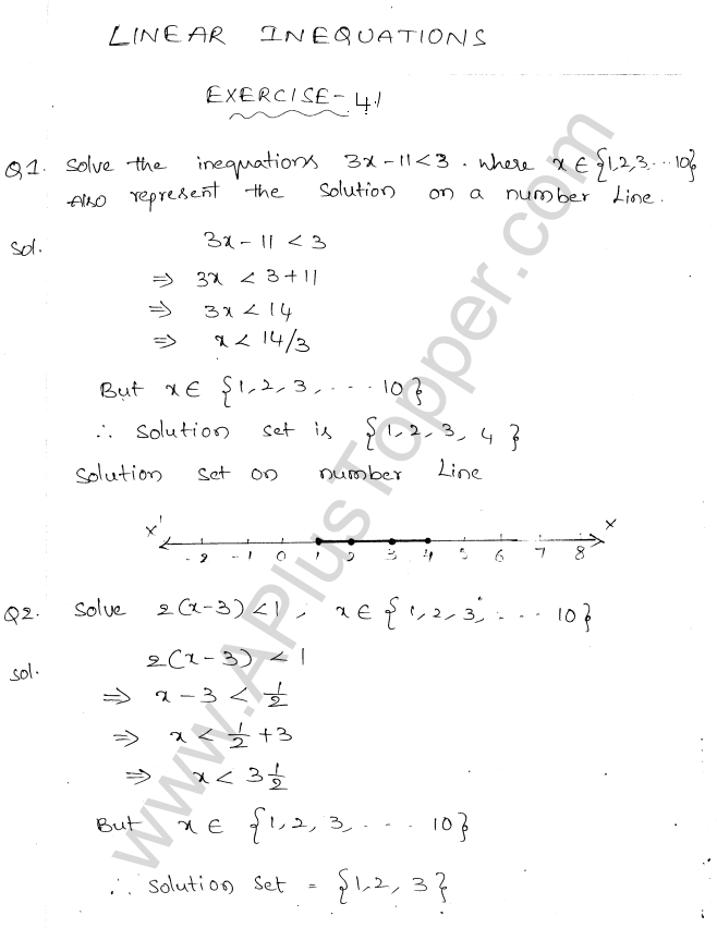 ML Aggarwal ICSE Solutions for Class 10 Maths Chapter 5 Linear Inequations Q1.1