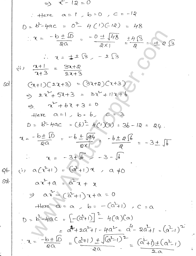 ML Aggarwal ICSE Solutions for Class 10 Maths Chapter 6 Quadratic Equations in One Variable Q6.21