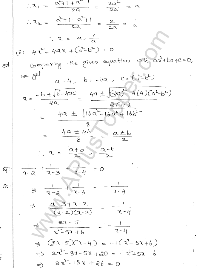 ML Aggarwal ICSE Solutions for Class 10 Maths Chapter 6 Quadratic Equations in One Variable Q6.22