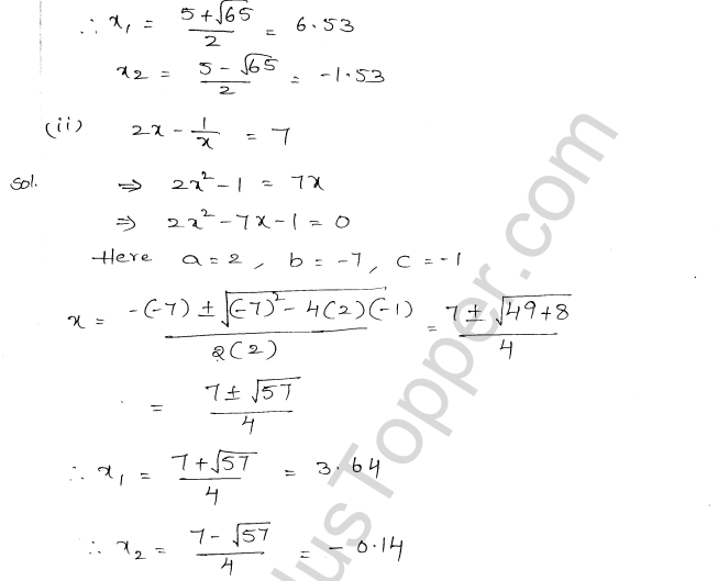 ML Aggarwal ICSE Solutions for Class 10 Maths Chapter 6 Quadratic Equations in One Variable Q6.25