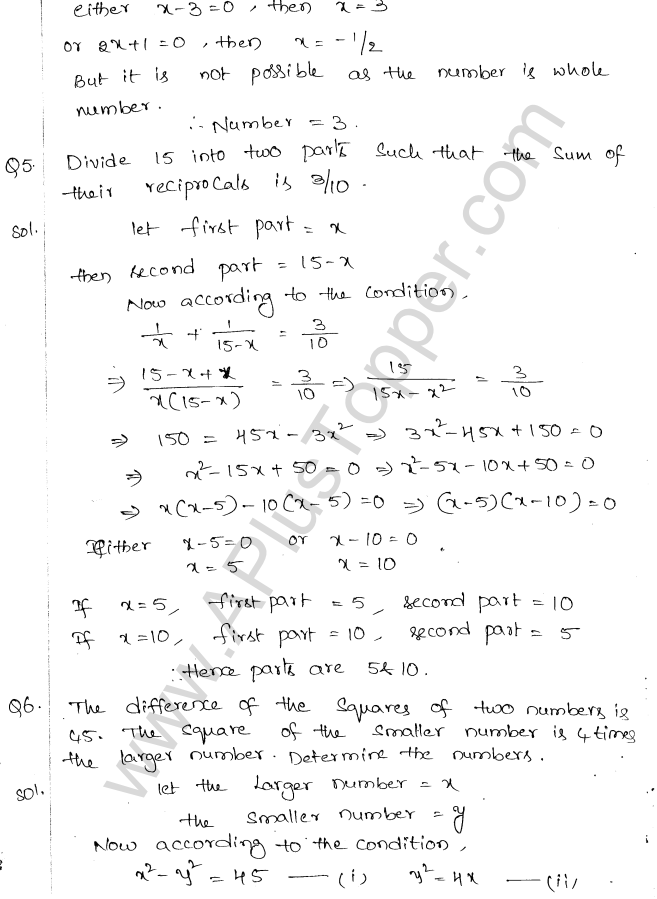 ML Aggarwal ICSE Solutions for Class 10 Maths Chapter 6 Quadratic Equations in One Variable Q6.37