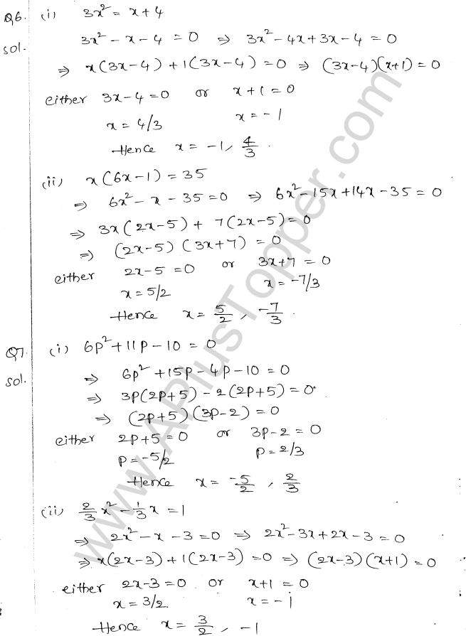 ML Aggarwal ICSE Solutions for Class 10 Maths Chapter 6 Quadratic Equations in One Variable Q6.4