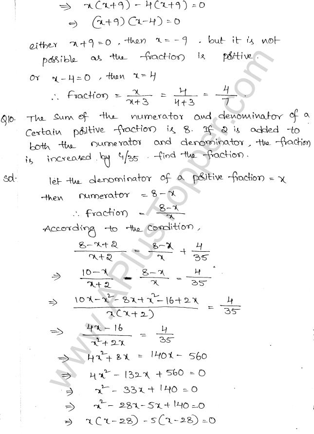 ML Aggarwal ICSE Solutions for Class 10 Maths Chapter 6 Quadratic Equations in One Variable Q6.41