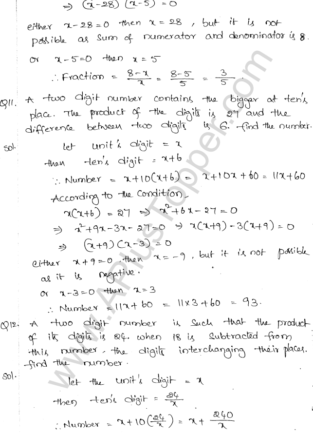 ML Aggarwal ICSE Solutions for Class 10 Maths Chapter 6 Quadratic Equations in One Variable Q6.42
