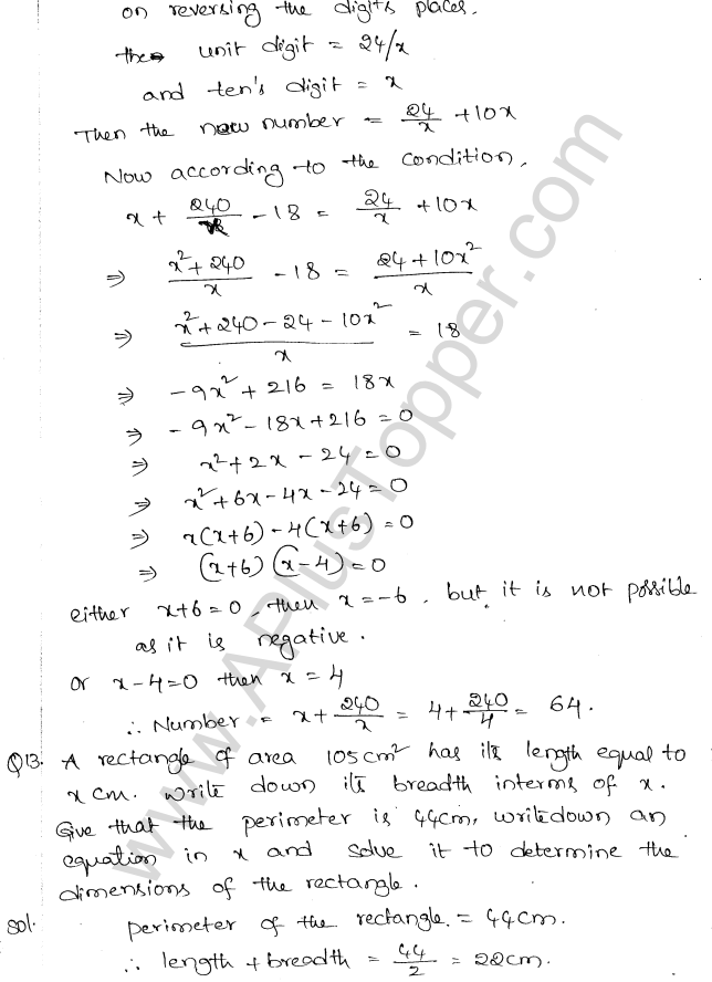 ML Aggarwal ICSE Solutions for Class 10 Maths Chapter 6 Quadratic Equations in One Variable Q6.43