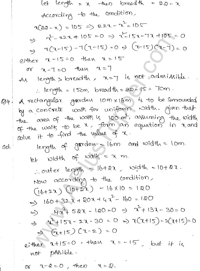 ML Aggarwal ICSE Solutions for Class 10 Maths Chapter 6 Quadratic Equations in One Variable Q6.44