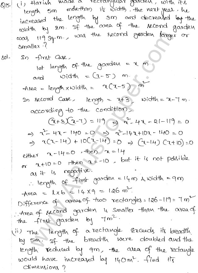 ML Aggarwal ICSE Solutions for Class 10 Maths Chapter 6 Quadratic Equations in One Variable Q6.45