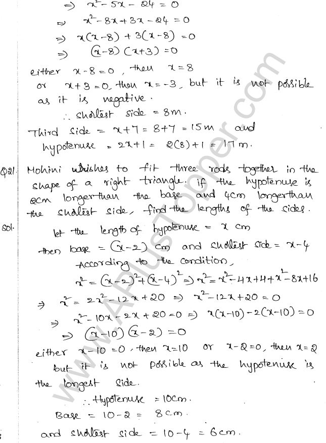 ML Aggarwal ICSE Solutions for Class 10 Maths Chapter 6 Quadratic Equations in One Variable Q6.50