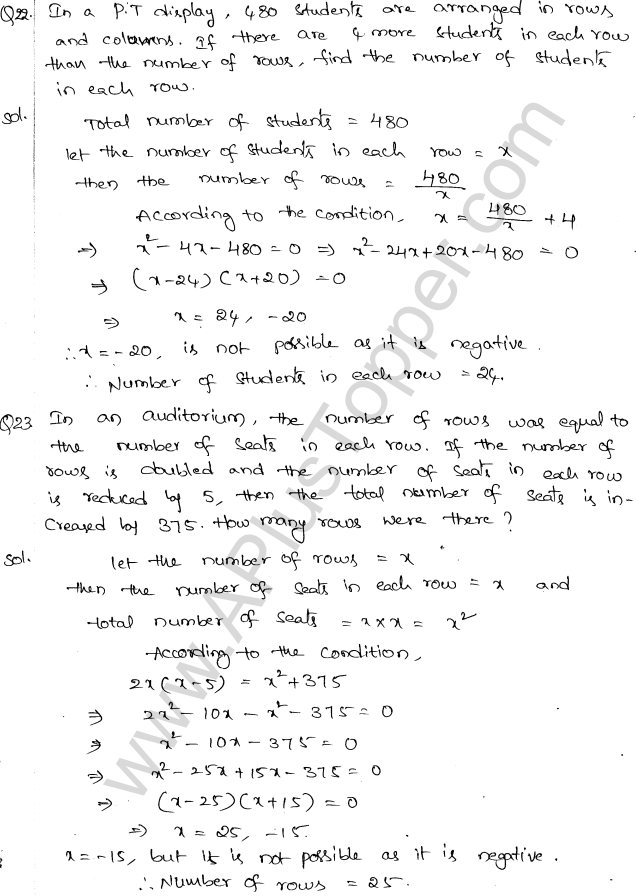 ML Aggarwal ICSE Solutions for Class 10 Maths Chapter 6 Quadratic Equations in One Variable Q6.51
