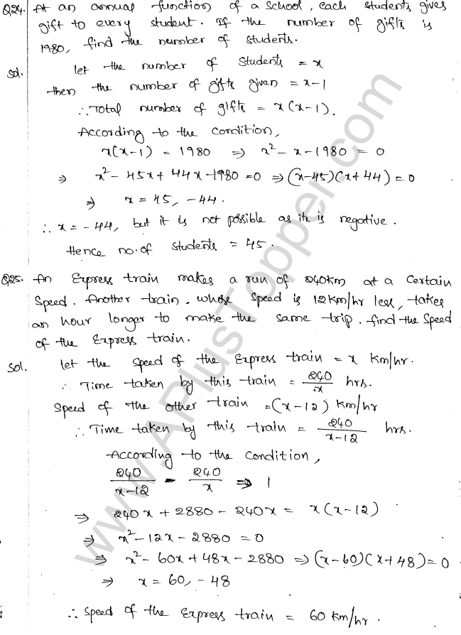 ML Aggarwal ICSE Solutions for Class 10 Maths Chapter 6 Quadratic Equations in One Variable Q6.52