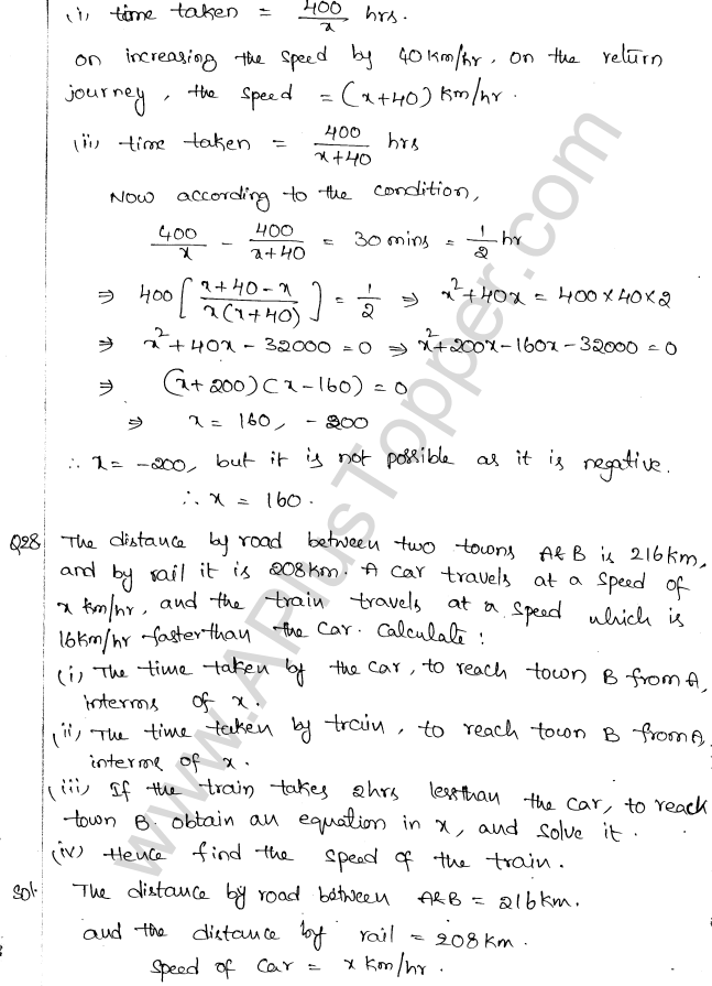 ML Aggarwal ICSE Solutions for Class 10 Maths Chapter 6 Quadratic Equations in One Variable Q6.54
