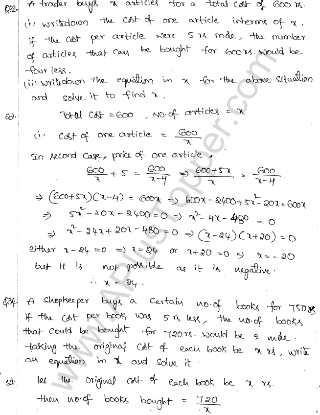 ML Aggarwal ICSE Solutions for Class 10 Maths Chapter 6 Quadratic Equations in One Variable Q6.58