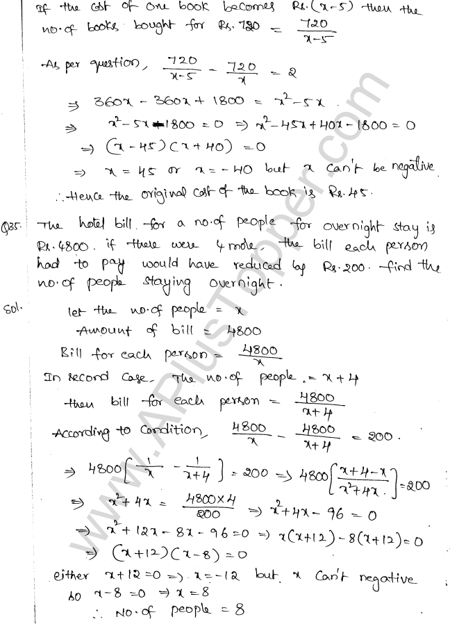 ML Aggarwal ICSE Solutions for Class 10 Maths Chapter 6 Quadratic Equations in One Variable Q6.59