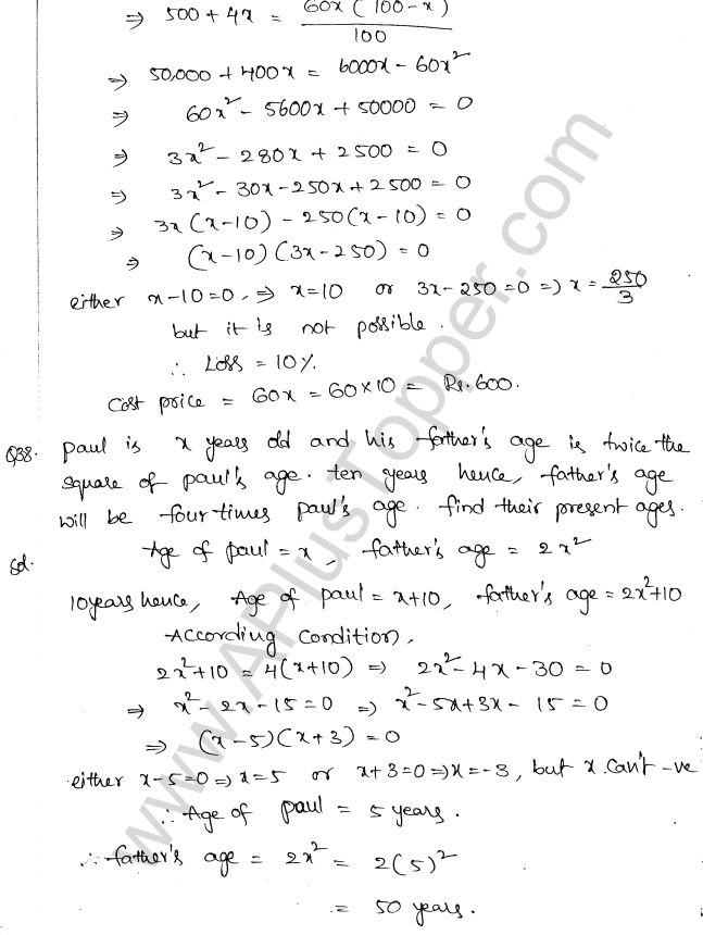 ML Aggarwal ICSE Solutions for Class 10 Maths Chapter 6 Quadratic Equations in One Variable Q6.61