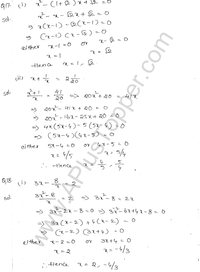 ML Aggarwal ICSE Solutions for Class 10 Maths Chapter 6 Quadratic Equations in One Variable Q6.9