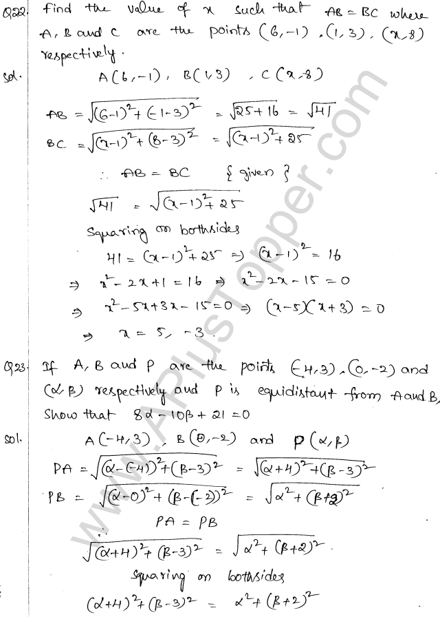 ML Aggarwal ICSE Solutions for Class 10 Maths Chapter 11 Section Formula Q1.10