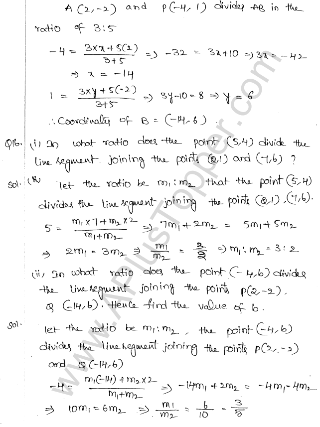 ML Aggarwal ICSE Solutions for Class 10 Maths Chapter 11 Section Formula Q1.22