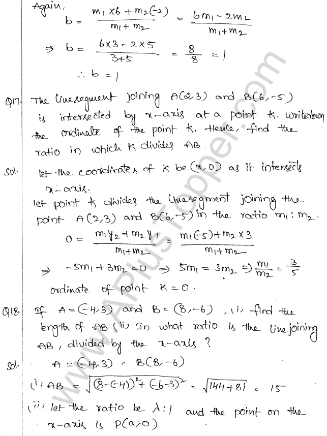 ML Aggarwal ICSE Solutions for Class 10 Maths Chapter 11 Section Formula Q1.23