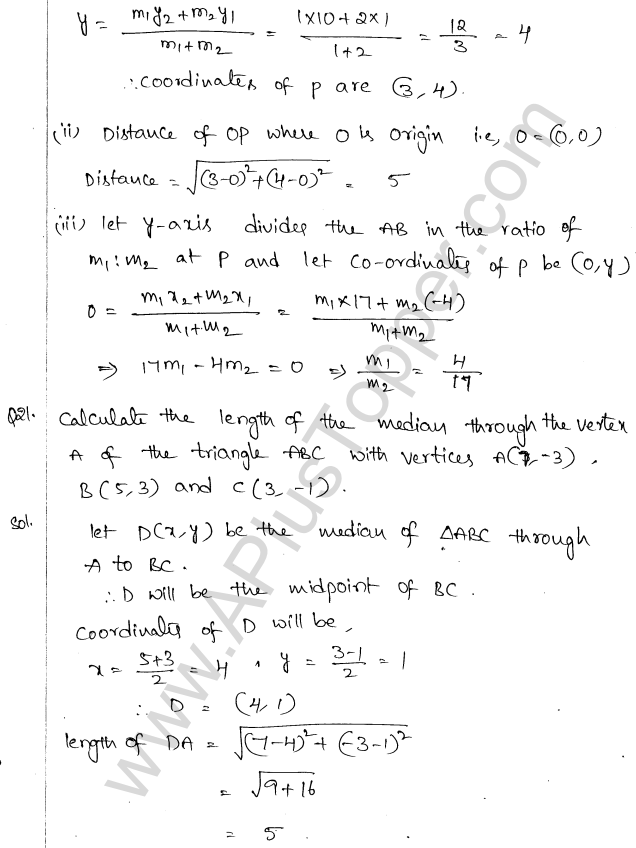 ML Aggarwal ICSE Solutions for Class 10 Maths Chapter 11 Section Formula Q1.25