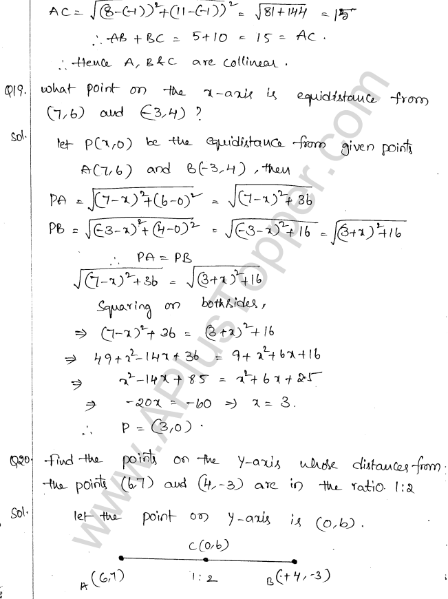 ML Aggarwal ICSE Solutions for Class 10 Maths Chapter 11 Section Formula Q1.8