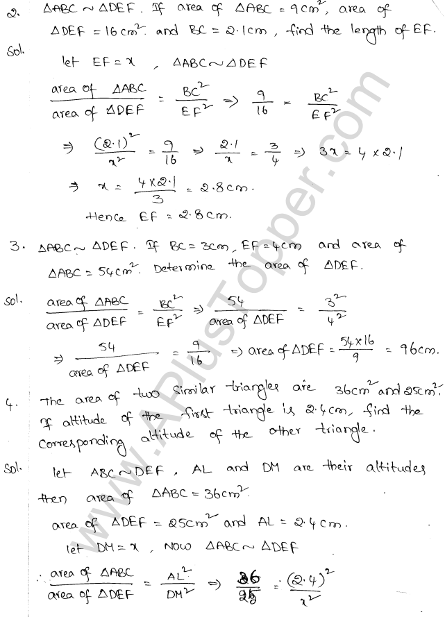 ML Aggarwal ICSE Solutions for Class 10 Maths Chapter 14 Similarity Q1.2