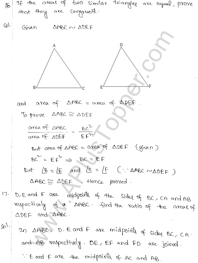 ML Aggarwal ICSE Solutions for Class 10 Maths Chapter 14 Similarity Q1.20