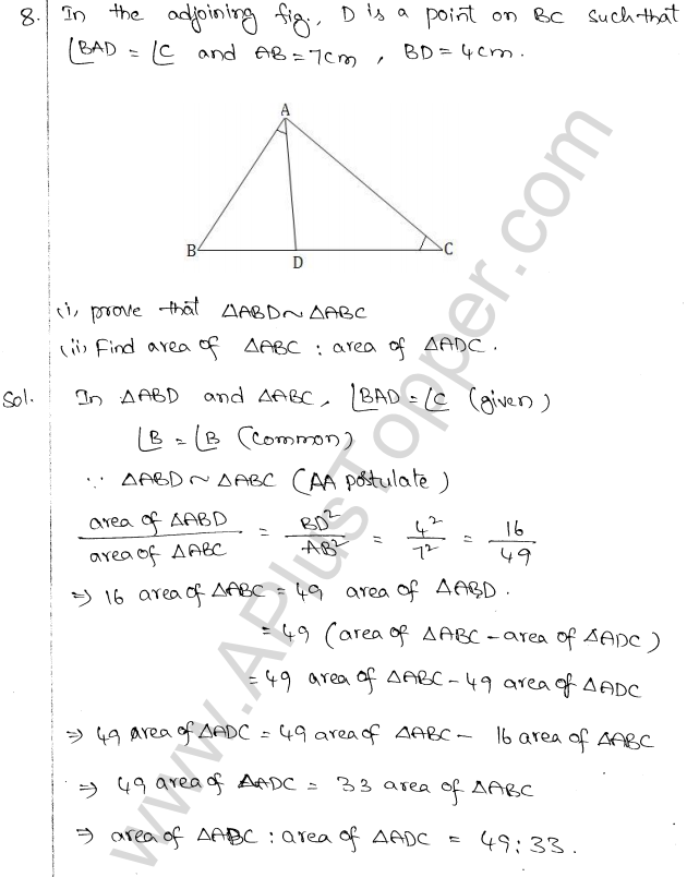 ML Aggarwal ICSE Solutions for Class 10 Maths Chapter 14 Similarity Q1.7