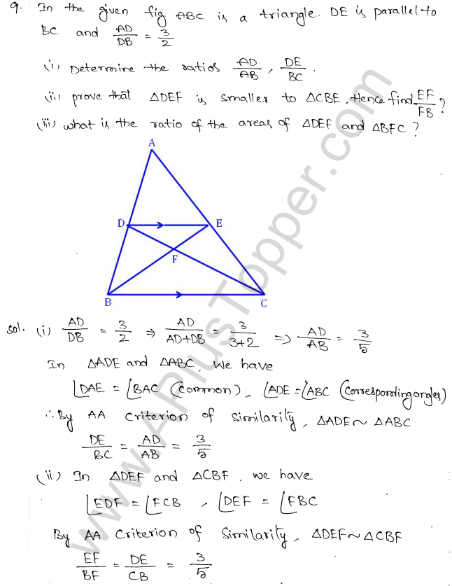 ML Aggarwal ICSE Solutions for Class 10 Maths Chapter 14 Similarity Q1.8