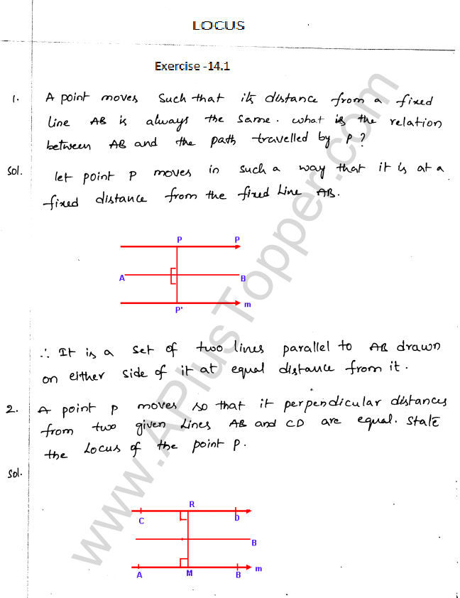 ML Aggarwal ICSE Solutions for Class 10 Maths Chapter 15 Locus Q1.1