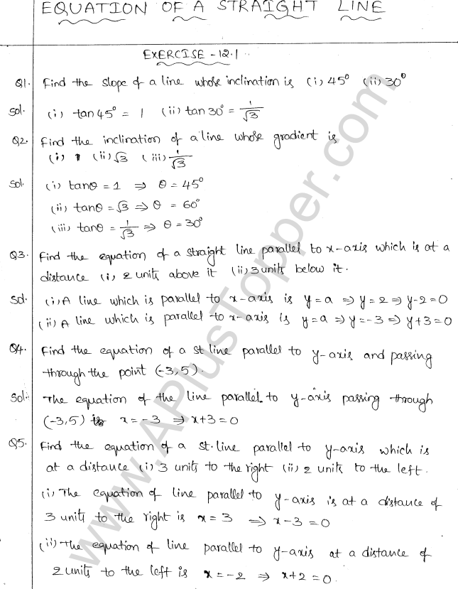 ML Aggarwal ICSE Solutions for Class 10 Maths Chapter 12 Equation of a Straight Line Q1.1