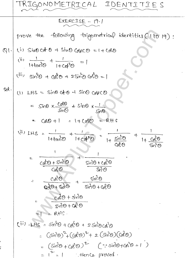 ML Aggarwal ICSE Solutions for Class 10 Maths Chapter 19 Trigonometric Identities Q1.1