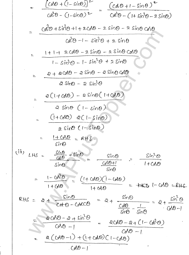 ML Aggarwal ICSE Solutions for Class 10 Maths Chapter 19 Trigonometric Identities Q1.10