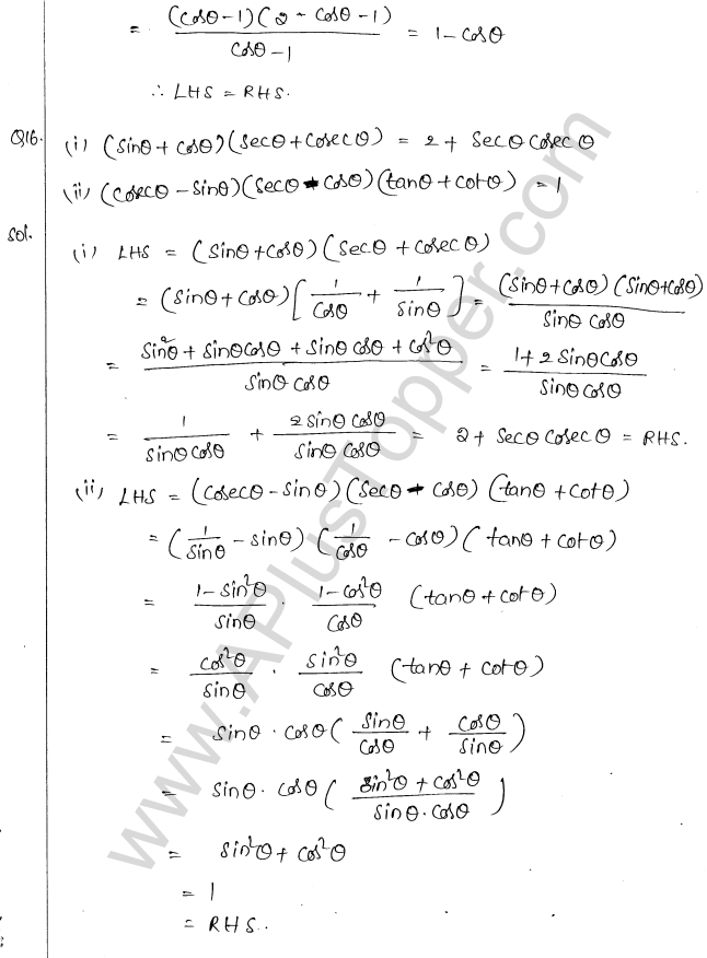 ML Aggarwal ICSE Solutions for Class 10 Maths Chapter 19 Trigonometric Identities Q1.11