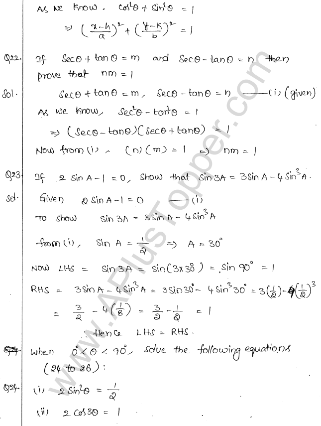 ML Aggarwal ICSE Solutions for Class 10 Maths Chapter 19 Trigonometric Identities Q1.14