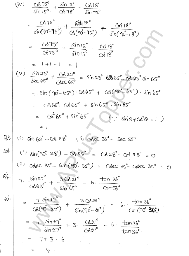 ML Aggarwal ICSE Solutions for Class 10 Maths Chapter 19 Trigonometric Identities Q1.18
