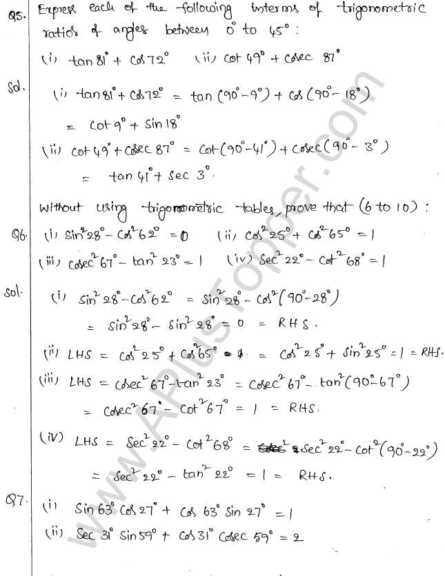 ML Aggarwal ICSE Solutions for Class 10 Maths Chapter 19 Trigonometric Identities Q1.19