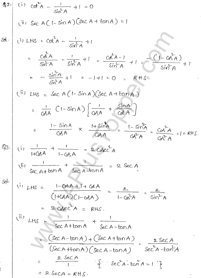 ML Aggarwal ICSE Solutions for Class 10 Maths Chapter 19 Trigonometric Identities Q1.2