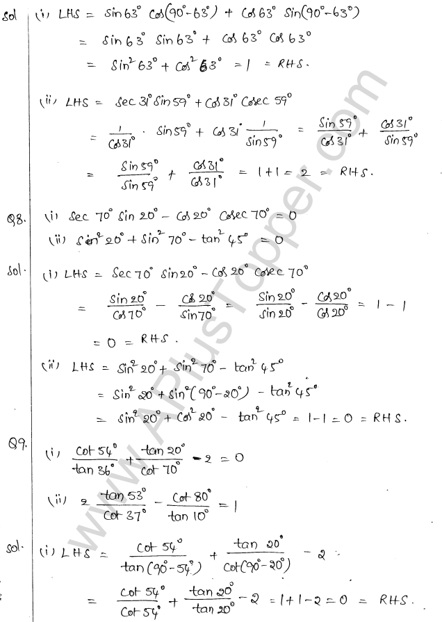ML Aggarwal ICSE Solutions for Class 10 Maths Chapter 19 Trigonometric Identities Q1.20