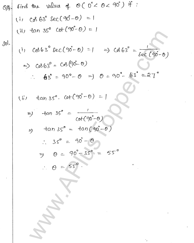 ML Aggarwal ICSE Solutions for Class 10 Maths Chapter 19 Trigonometric Identities Q1.23