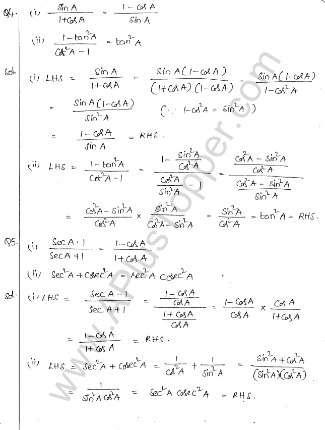 ML Aggarwal ICSE Solutions for Class 10 Maths Chapter 19 Trigonometric Identities Q1.3